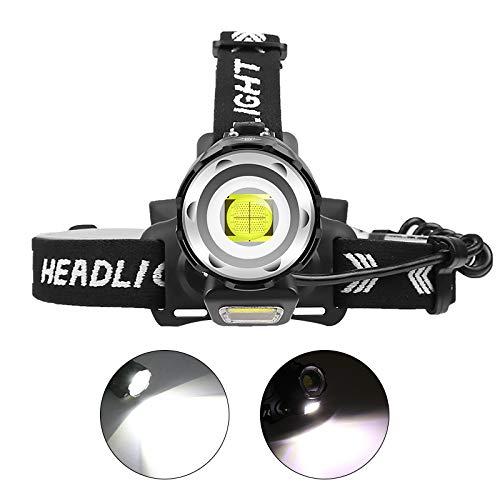 12000 Lumenes Linterna Frontal Recargable, WESLITE XHP90 Linterna Frontal LED Alta Potencia Ultra Brillante Linterna Cabeza para Trabajo con Zoom 4 Modos para Pesca Cámping Trabajos de Construcción