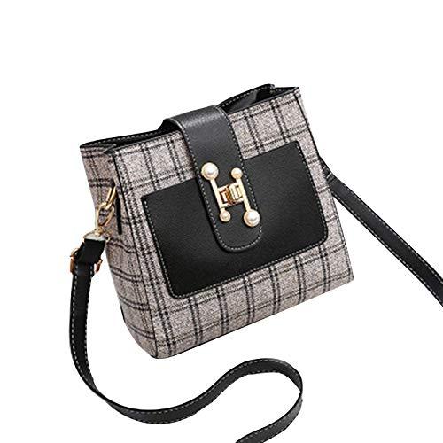 Qingxin Bandolera para mujer de cuero de la PU de moda bolso de mensajero con múltiples compartimentos con correa ajustable para el hombro