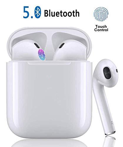 Auricolari Bluetooth 5.0 TWS i12 Senza Fili, Wireless Cuffie In-ear Tocco Sport Stereo Cuffie POP-UPS IPX7 Impermeabile Abbinamento Automatico Cuffie Riduzione del Rumore-Bianco
