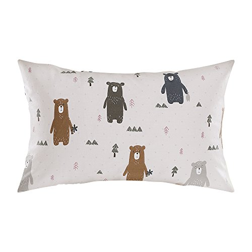 "Alasville 100% Natural Organic Cotton Toddler Pillowcase Soft Breathable Hypoallergenic Sleeping Pillow Cover for Kids/Baby/Children/Girls/Boys - 13"" x 18"" - Cartoon Bear Pattern"