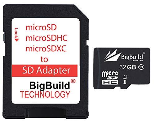 BigBuild Technology 32GB Ultra Schnelle 80MB/s Speicherkarte für Easypix Aquapix W1024 Splash Aktionskamera, Klasse 10 MicroSDHC