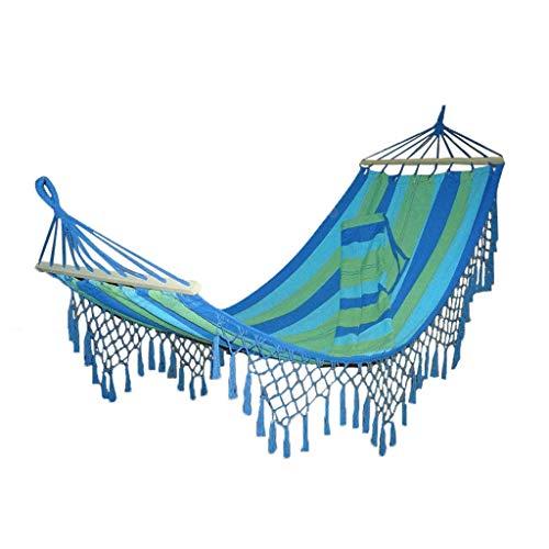 XBCDX Recreación Hamaca con borlas Lona de algodón Hamaca de Viaje para Acampar 200 * 100 CM Muebles de Exterior Cama Colgante Regalos para Excursionistas (Color: Azul)