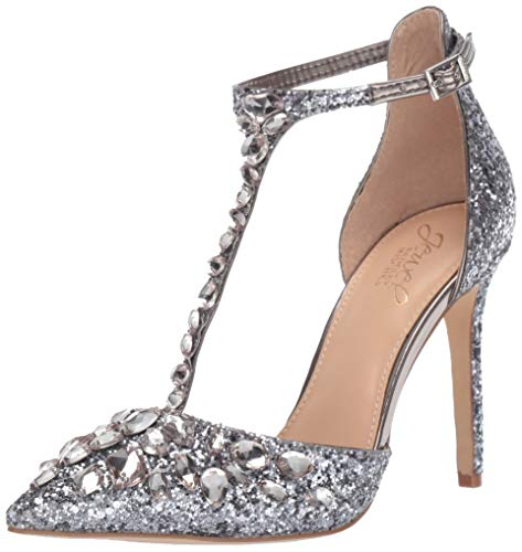 Jewel Badgley Mischka Women's UMAY Shoe, smoke Glitter, 10 M US
