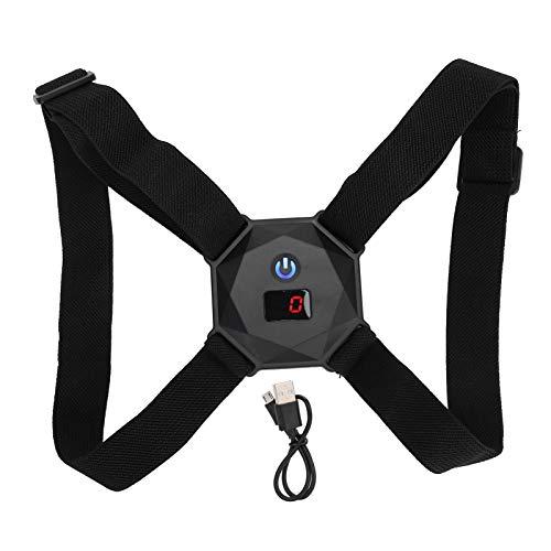 Haltungskorrektur, Rückenstütze für Männer und Frauen Verstellbarer Rückenglätter mit LCD-Bildschirm Vibration Voice Broadcasting für die Korrektur der Rückenhaltung(schwarz)