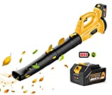 Cordless Leaf Blower - EKACO 21V 320 CFM 150 MPH Upgraded Leaf Blower,with 4.0Ah Display Power Battery & Charger,2 Section Tubes,6-Speed Dial for Dust,Snow Debris,Yard,Work Around The House