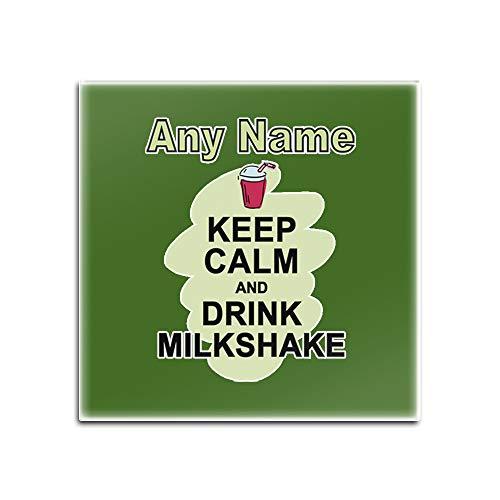 Gepersonaliseerd geschenk - Set van 4 x Keep Calm Drink Milkshake Glazen Coaster (Voedsel Design Kleur) Elke Naam Boodschap Unieke Mat Pad - Draag Poster Party Dieet Snack Beer Wijn Koffie Koffie Chocolade Sap