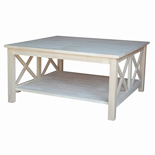 International Concepts Hampton Square Coffee Table, Unfinished