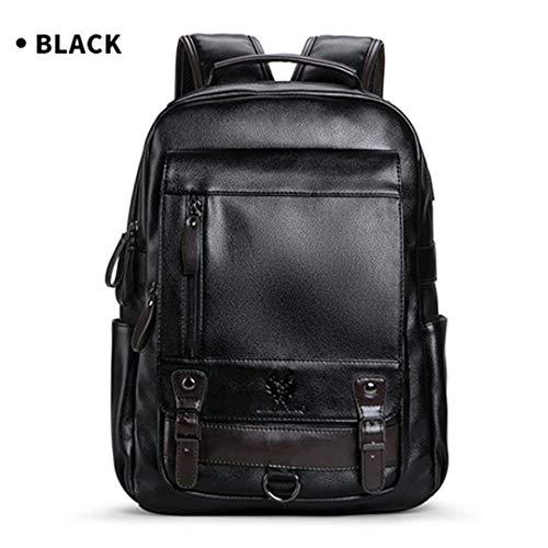 WENYAO Rucksack Herrenmode Trend Große Kapazität Jugend Freizeit Schwarz Reise Leder Computer Tasche Schwarz
