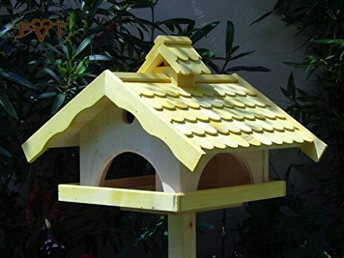 Vogelhaus, groß, BEL-X-VONI5-LOTUS-LEFA-gelb002 Großes wetterfestes PREMIUM Vogelhaus mit wasserabweisender LOTUS-BESCHICHTUNG VOGELFUTTERHAUS + Nistkasten 100% KOMBI MIT NISTHILFE für Vögel WETTERFEST, QUALITÄTS-SCHREINERARBEIT-aus 100% Vollholz, Holz Futterhaus für Vögel, MIT FUTTERSCHACHT Futtervorrat, Vogelfutter-Station Farbe gelb kräftig sonnengelb goldgelb, MIT TIEFEM WETTERSCHUTZ-DACH für trockenes Futter
