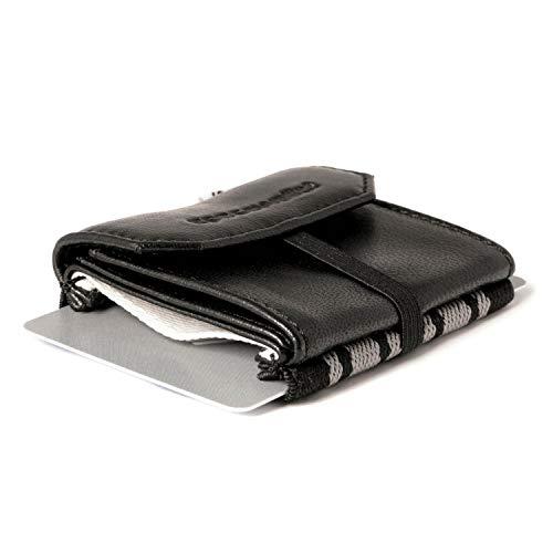 Space Wallet Pull I Mini Portemonnaie für Damen & Herren I Echtleder Geldbörse für bis zu 15 EC-Karten/Kreditkarten I Münzfach & Scheinfach I Kartenetui und Geldbeutel I Business Black
