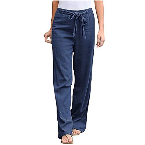 VEKDONE Women Tapered Pants Drawstring Cotton Linen Palazzo Pants Elastic Waist Loose Comfy Yoga Pants Trousers(Blue,Medium)