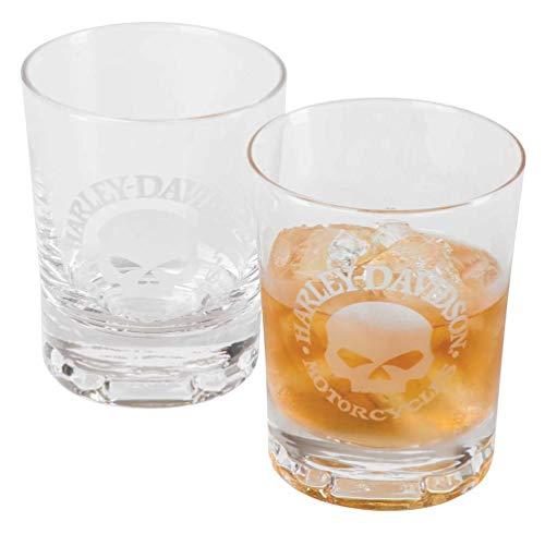Harley-Davidson Willie G Skull - Juego de vasos (2 unidades, 10 oz)