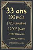 33 ans: Joyeux anniversaire 33 ans, cadeau anniversaire 33 ans homme femme maman papa, carnet 33 ans, 120 pages Ligné 15.24x22.86 cm