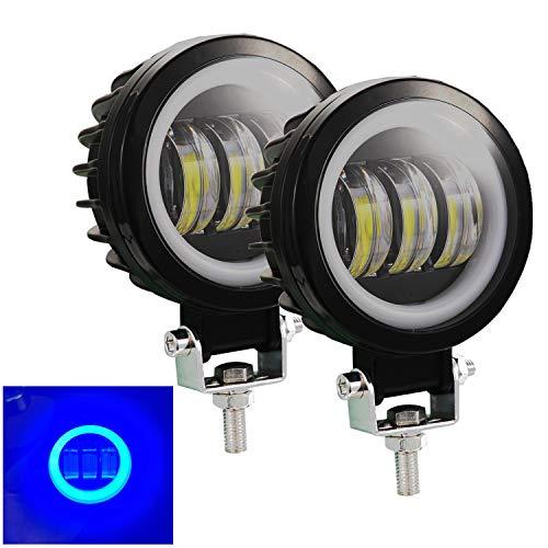 Kairiyard 3,5-Zoll-Scheinwerfer LED 6 CREE-Chip Mit 3 Linsen 60W 6000Lm 6000K+8000K Angel Eyes Zusätzliches Scheinwerfer-LED-Motorrad Zusätzliche LED-Lichter Motorrad-LED-Stangen-Nebelscheinwerfer DRL