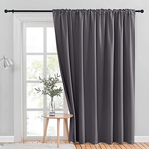 NICETOWN Patio Sliding Glass Door Curtain, Wide Blackout Curtains, Keep Warm Draperies, Grey Sliding Door Drapes for Closet Bedroom Office Sunroom Backdrop (Gray, 100 inches W x 95 inches L, 1 Panel)