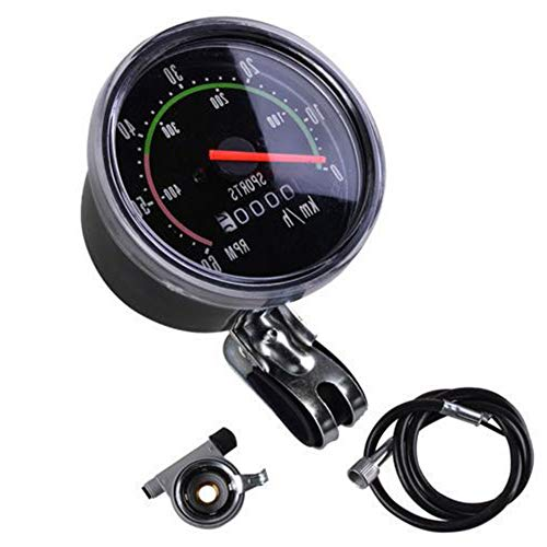 Odómetro de Bicicleta, Velocímetro Mecánico Puntero Rojo 0-60 Km/H Adecuado para Bicicletas de 26 28 29 27.5 Pulgadas (Negro)