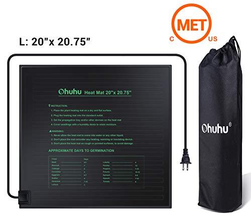Ohuhu Seedling Heat Mat 20quot x 2075quot Large IP67 Waterproof Plant Heating Mat MET Standard 18W Hydroponic Heat Pad for Indoor Seedling and Germination Bonus A Storage Bag