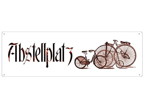 Interluxe METALLSCHILD Blechschild Shabby Vintage Schild ABSTELLPLATZ Fahrrad Hinweisschild Fahrräder