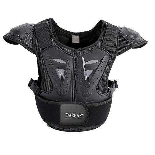 "BARHAR Kids Dirt Bike Body Chest Spine Protector Armor Vest Protective Gear for Dirtbike Bike Motocross Skiing Snowboarding Black (XL for height 57""-61"")"