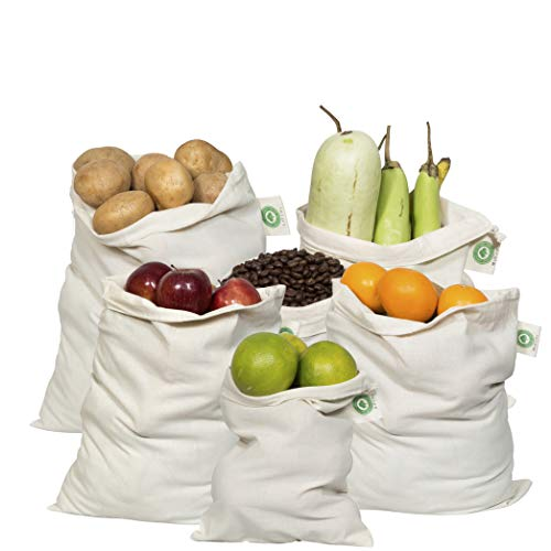 Reusable Produce Bags Cotton Washable  Organic Cotton Vegetable Bags  Cloth Bag with Drawstring  Muslin Cotton Fabric Produce Bags  Bread Bag  Set of 6 2 Large 2 Medium 2 Small