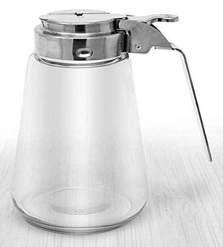 Millvado 12 Ounce Glass Sugar/Syrup Dispenser | Restaurant Style, Stainless Steel Lid, Perfect for Sugar, Honey, Syrups, Cream, and More, Dishwasher Safe