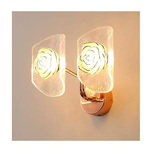 QQB Fashion-1 Applique Murale LED en Verre De Fer Forgé Rose Salon Chambre Salle À Manger Applique Modern (Color : Warm Light)