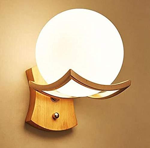 Liep in de Japanse stijl wandlamp met trekschakelaar creatieve houten bord bedlampje Nordic tatami, Ball B-LED,Beige