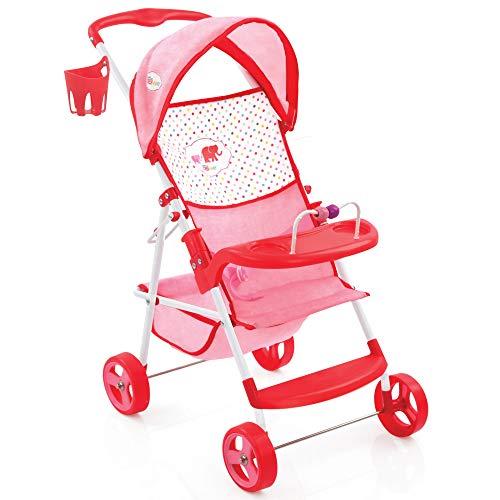 Hauck D83389 Little Mommy Puppenbuggy Shopper Vielseitiger Puppenwagen mit Spielzeugkorb, Sonnendach, Fußablage, Spielbrett und Trinkflaschenhalter, Rosa/Rot