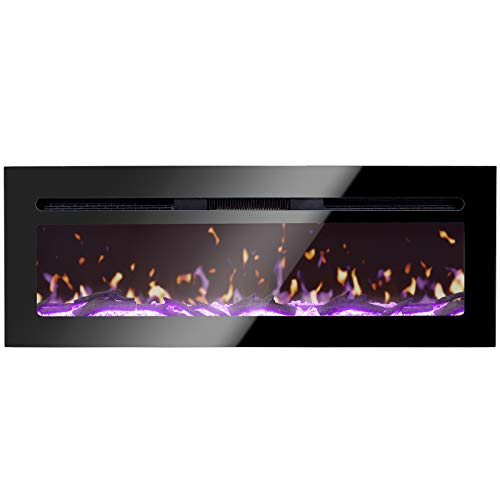 "BizHomart Doris Electric Fireplace Recessed and Wall Mounted for 2X6 Stud Log & Crystal Remote Control with Timer 1500 Watt Heater, 48"", Black"