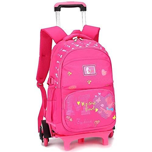 S$S School Bagzak Zes Wheel Trolley Schooltas Boek tas voor meisjes op wielen