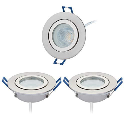 HCFEI 3er Set LED Einbaustrahler silber - rund flach 5 Watt dimmbar Neutralweiß 4000K 230V IP44 – geeignet für Bad, Küche, Sauna, Außenbereich – Ø60-70mm Bohrloch, 25mm Einbautiefe