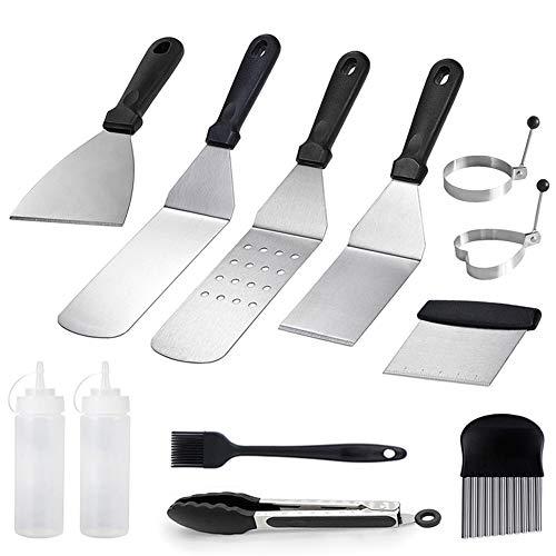 JOLY FANG Grillspachtel Grillbesteck Set, Edelstahl Metallspachtel und Grillschaber Flachgrill Teppanyaki Werkzeuge Set Ideal für Kochen, Camping, BBQ, 12 Stück