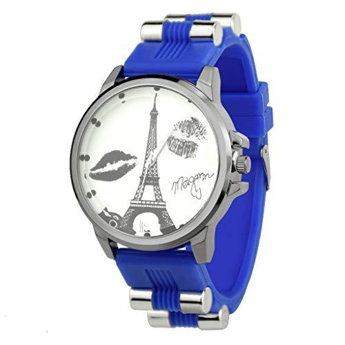Transer Comfort Trend Personality Guarda Cinturino in Silicone al Quarzo Fashion Casual Watch, per SHIKAI ZYBSK-7 (Blue)