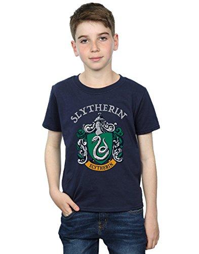 Harry Potter Jungen Slytherin Crest T-Shirt Navy Blau 7-8 Years