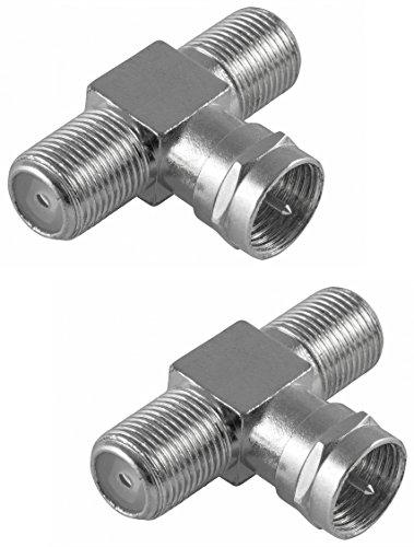 Poppstar 2X SAT TV Coax Verteiler T-Stück (2X F-Buchse auf 1x F-Stecker), F-Adapter Antennenkabel Adapter für Koaxialkabel - Antennenkabel (Antennenadapter Kupplung), Silber