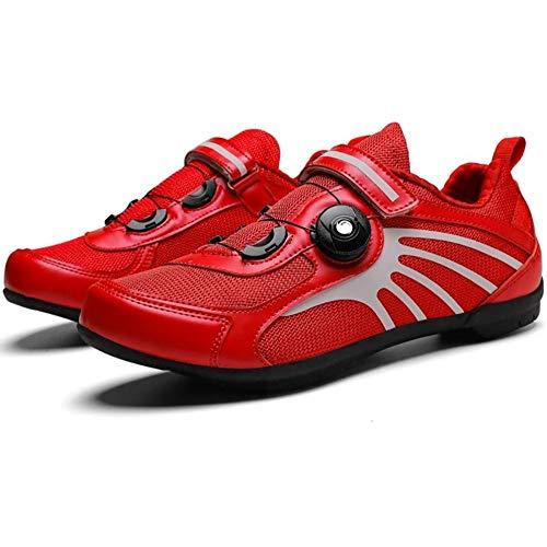 KUXUAN Zapatillas De Ciclismo Extreme MTB Calzado De Bicicleta para Hombre,Zapato De Bicicleta De Montaña Calzado De Ciclismo Profesional Sin Bloqueo Suela Dura Sin Bloqueo,Red-UK3.5=EU36(233m