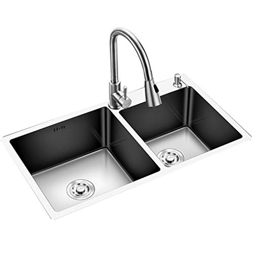 WenFei shop Undermount Workstation Kitchen Sink,304 Stainless Steel Double Bowl with The downpipe Kit,for Kitchen Bar Small Restaurant