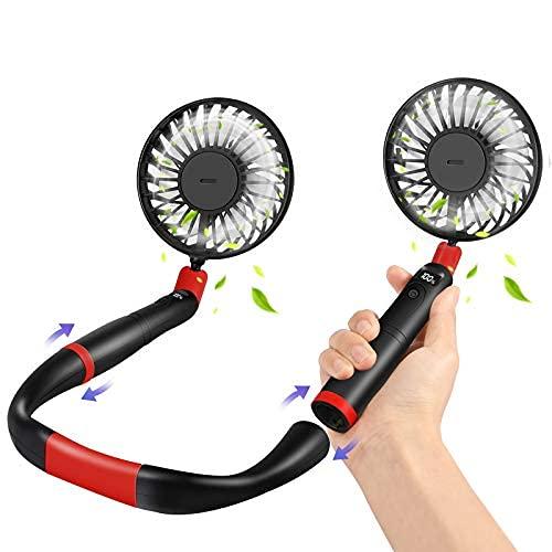 Ventilador portátil del cuello 2 en 1, ventilador de cuello colgante personal 4000mAh con 2 ventilador de mano extraíble USB recargable, 3 ...