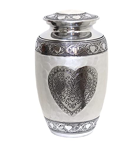 hlc Cremation Urns Heart Cremation Urn - Sliver Heart Funeral Urn for Human Ashes - Burial urn with Detailed Engraving - 100% Aluminum- Adult Large Size up to 200 lbs