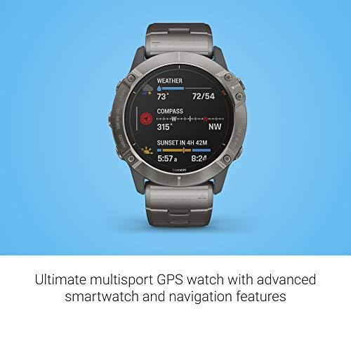 Garmin Fenix 6X Pro Solar, Premium Multisport GPS Watch with Solar Charging, features Mapping, Music, Grade-Adjusted Pace Guidance and Pulse Ox Sensors, Titanium 2