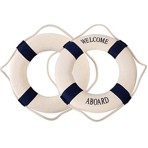 Naisicatar Salvavidas Marino méditerraneen Flotador de natación Anillo casa decoración o el Muro Ornamentos Decorativos Azul 20cm x 1
