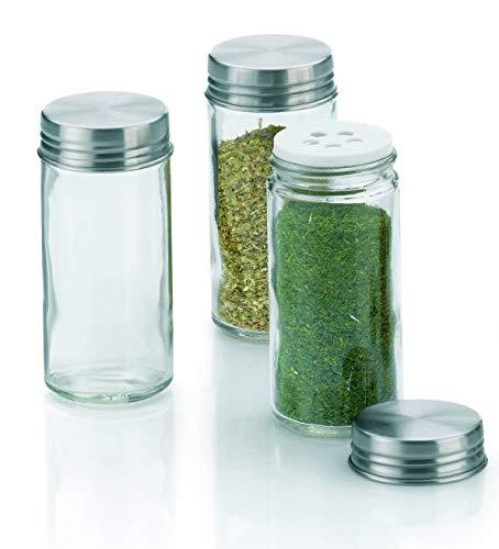 Kela 3-dlg. Zoutstrooierset fidelis hoge kruidenpotjes voor grove keukenkruiden rond strooi opzetstuk + roestvrij stalen deksel zilveren keukenaccessoires gastro