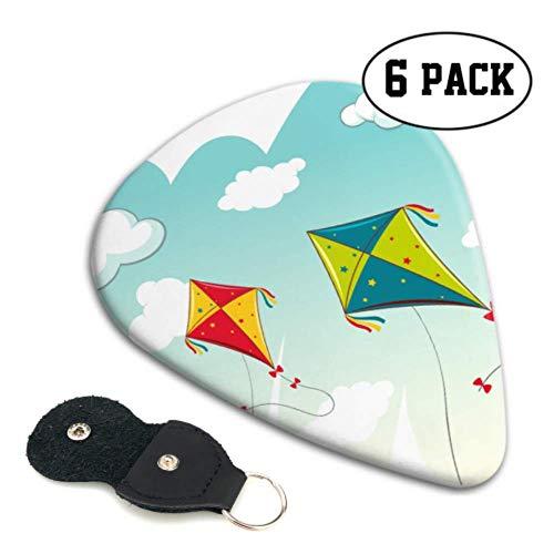 Colorful Kite Flying In Sky Púas especiales para guitarra Púas para bajo Paquete de variedad Paquete de 6 regalos pesados para bajo, guitarras acústicas eléctricas