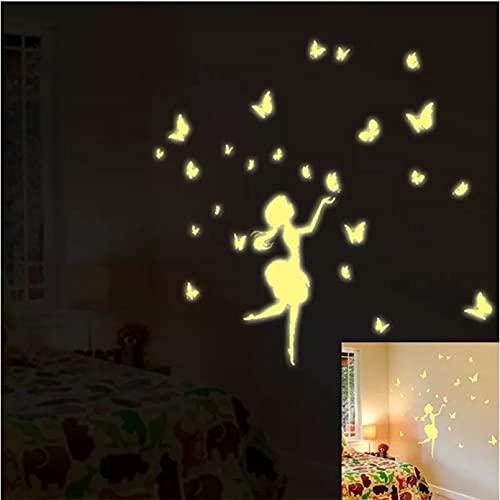 Diy luminoso Paster decoración del hogar pegatinas de pared diente de león mariposa chica figuras carteles artes pegatina de fluorescencia
