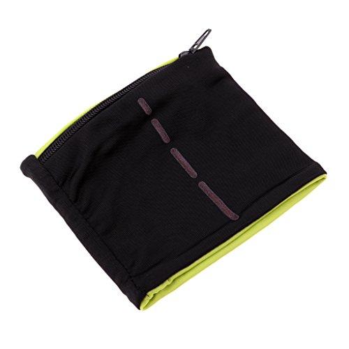 IPOTCH Schweißband mit Reißverschluss Tasche für Herren und Damen, geeignet für Joggen, Laufen, Squash, Badminton, und andere Sports - Schwarz Hellgrün