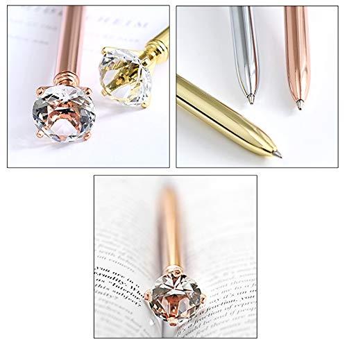 CLARA 8 Pcs Big Diamond Pens Rhinestone Crystal Metal Ballpoint Pen Black Ink Silver Photo #4