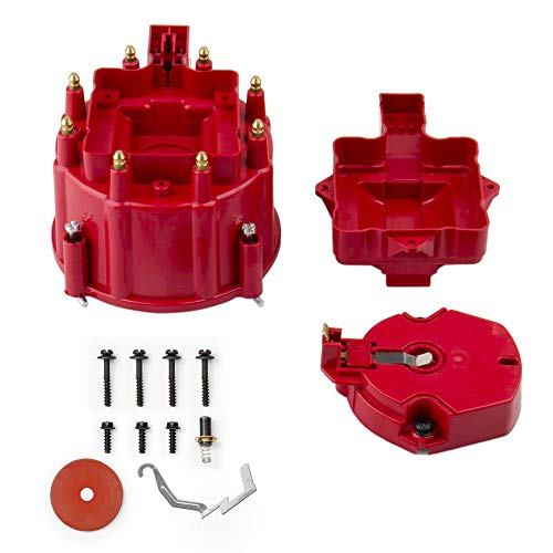 CarBole Red Male HEI Distributor Cap & Rotor Replacement for SBC BBC 305 350 454