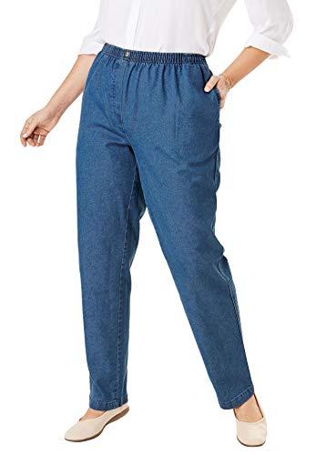 Woman Within Women's Plus Size Petite Elastic-Waist Cotton Straight Leg Pant - 16 WP, Medium Stonewash