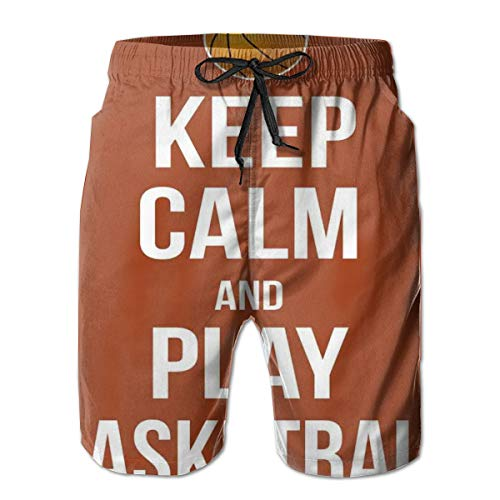 Men's Big and Tall Swim Trunks Beachwear Drawstring Summer Holiday,Keep Calm Play Basketball Quote Motivational Phrase Pop Culture Poster,3D Print Shorts Pants,XX-Large