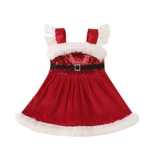 Loalirando Abiti Di Natale Bambina Neonata Vestito Principessa Con Pailettes Pagliaccetto In Tulle Rosso